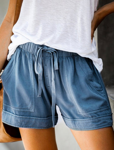 Blue Drawstring Shorts with Pocket