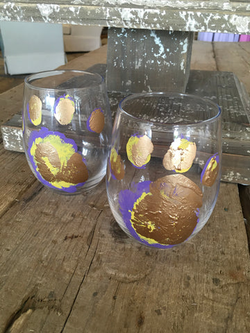 LSU Stemless Wine Glass