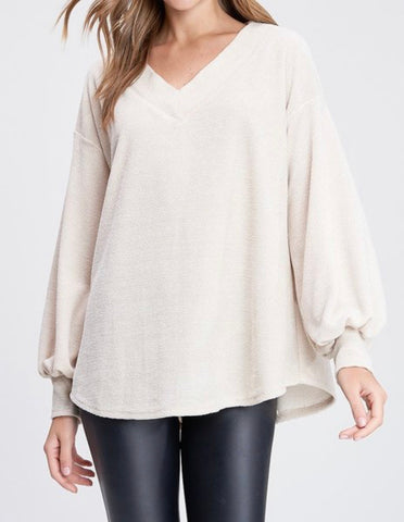 WB Chenille V-Neck Top