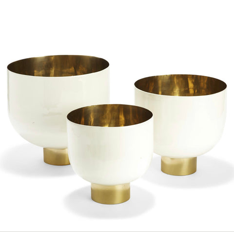 White Bowls with Gold Base