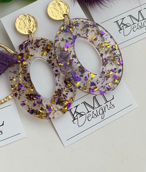 KML Acrylic Purple/Gold Earrings