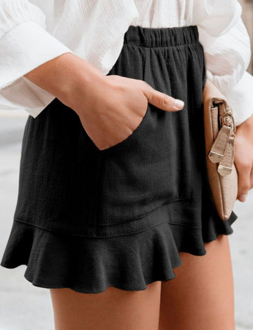 Flutter Ruffle Shorts Black