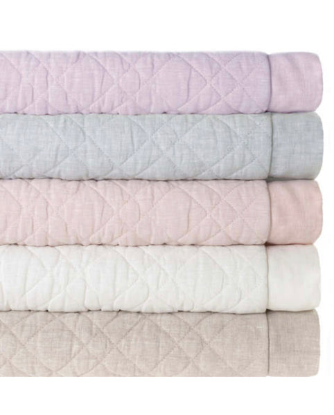 PCH Washed Linen Quilted EURO Sham