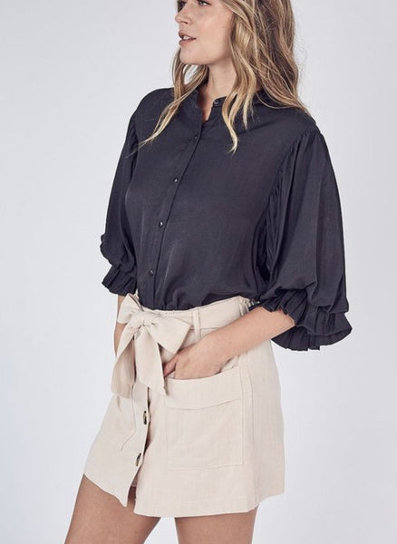 BLACK Balloon Sleeve Button Up Top