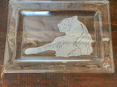 Carved Tiger Crystal Tray
