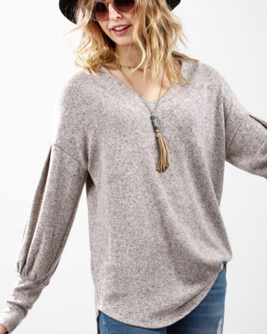 Bishop Sleeve Top Oatmeal
