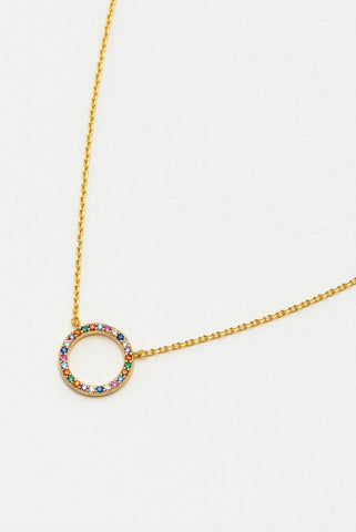 Rainbow Circle Pave Necklace