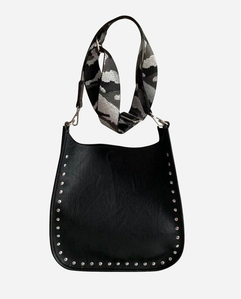 Black Studded Messenger Bag with Stra