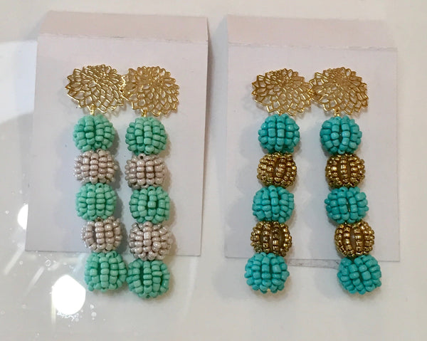 LM Beaded Ball Earrings