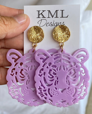 Purple Tiger Head Earring
