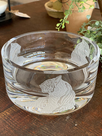 Carved Tiger Crystal Bowl