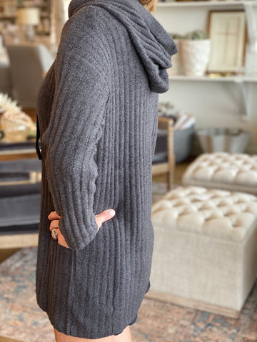Cozy Carbon Hooded Tunic