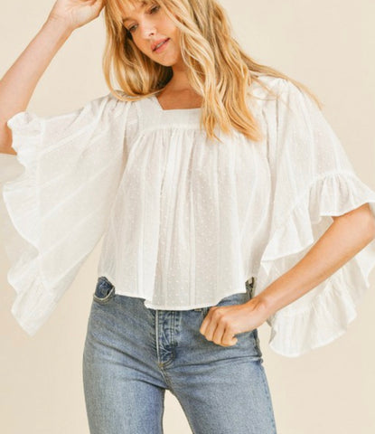 White Flutter Top
