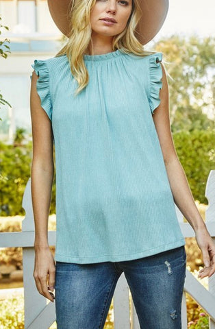 Sleeveless Ruffle Top Sage