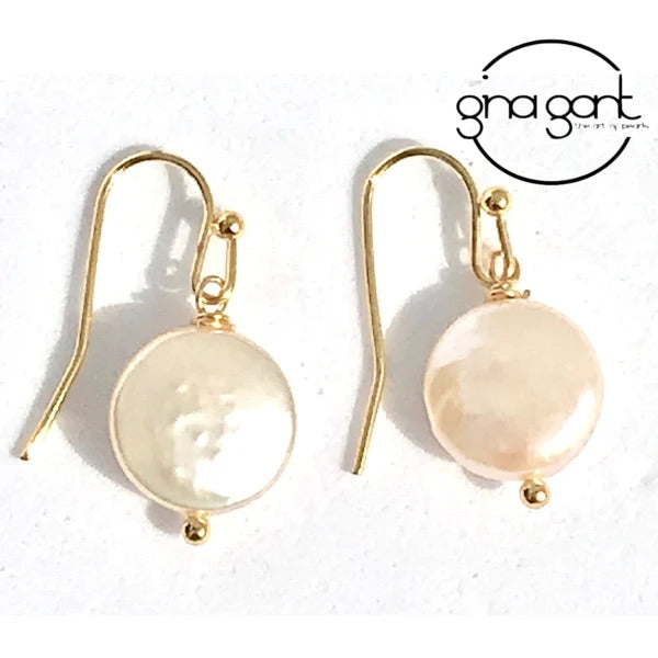 Simple Coin Pearl Earring