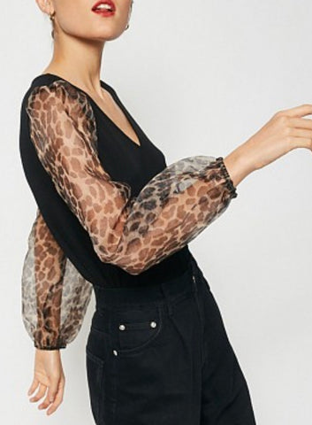 HAY Leopard Puff Sleeve Top
