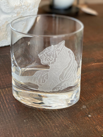 Carved Tiger Oval Rocks Glass