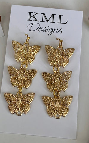 Gold Post Dangle Butterflies