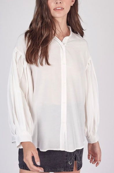 Pleated Button Up Shirt
