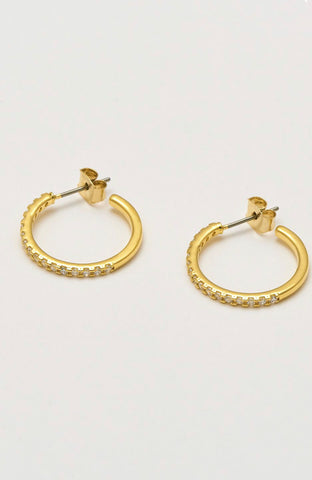 Large Gold Pave Hoop