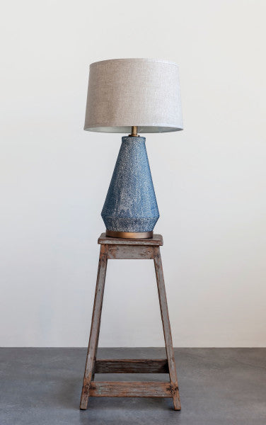Textured Blue Glaze Table Lamp