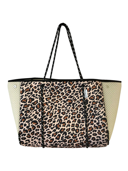 Leopard Neoprene Bag with Camel