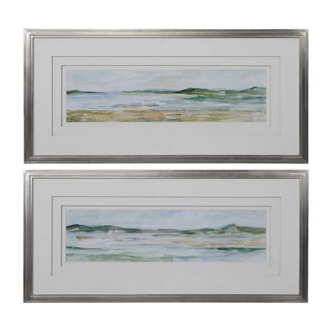 Framed Panoramic Watercolor Art Set of 2