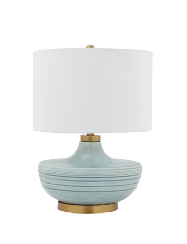 Striped Aqua Table Lamp with White Linen Shade