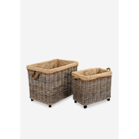 Kuba Grey Storage Baskets with Wheels
