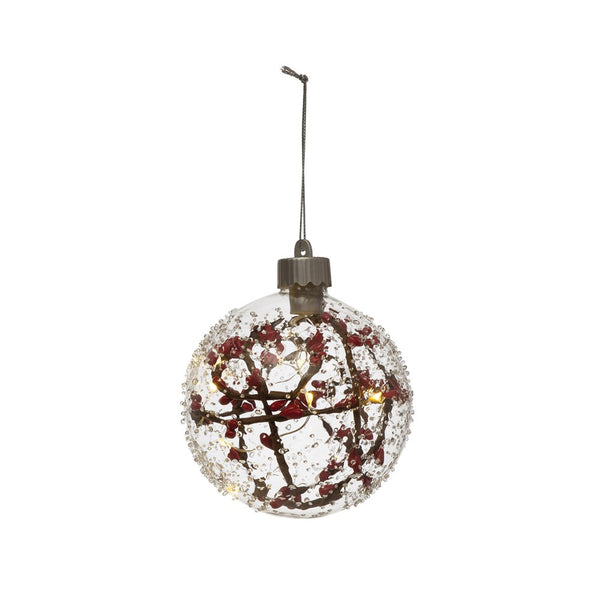 Faux Berry Branch LED Light Ornament 4""