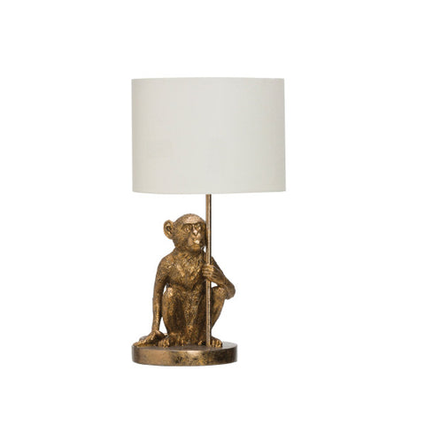 Antique Gold Monkey Lamp