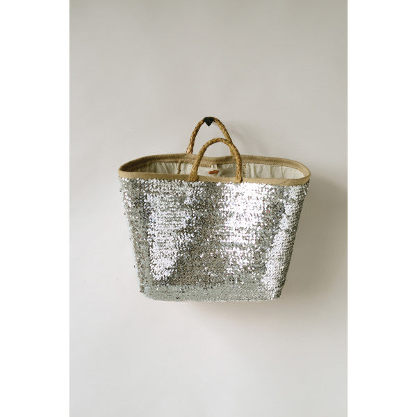 Sequined Seagrass Woven Basket with handles