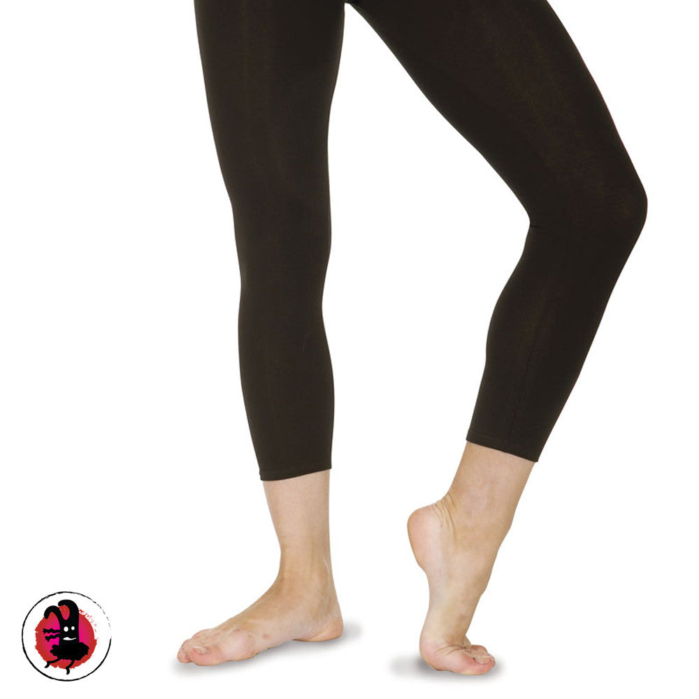Black Dance Leggings. Calf Length Black Cotton Leggings