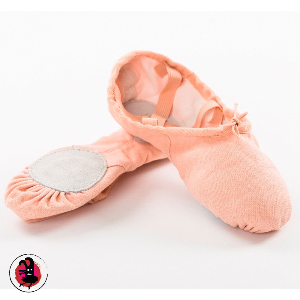 Chacott Canvas Ballet Shoes. Pink, Black & White