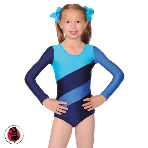 Three Tone Long Sleeved Gymnastics Leotard Blue