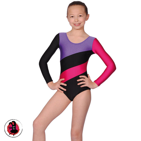Three Tone Long Sleeved Gymnastics Leotard Raspberry