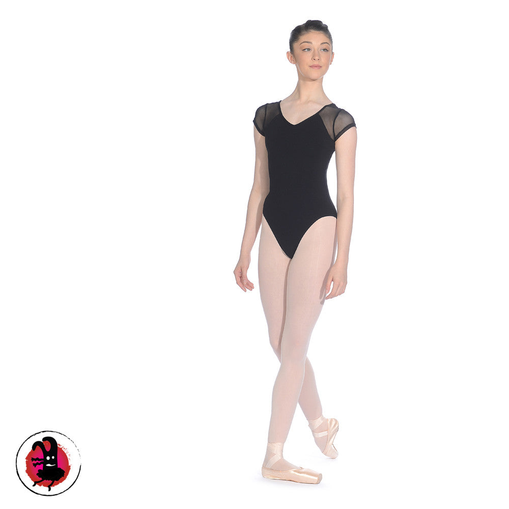 Leotard with Mesh Capped Sleeves