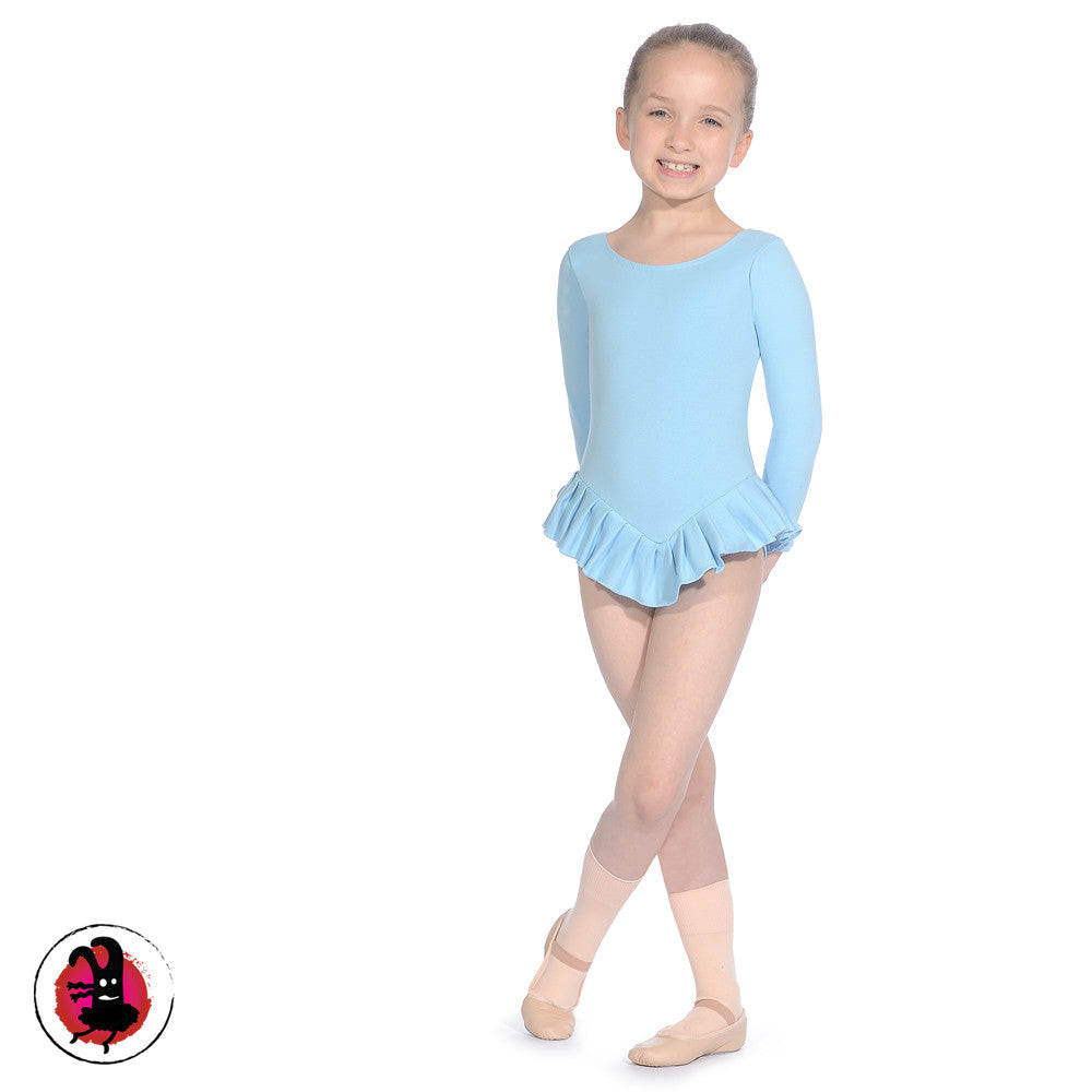 Long Sleeved Leotard with Attached Frill Skirt