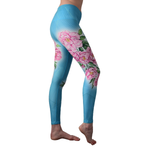 'Peonies' high waisted eco leggings