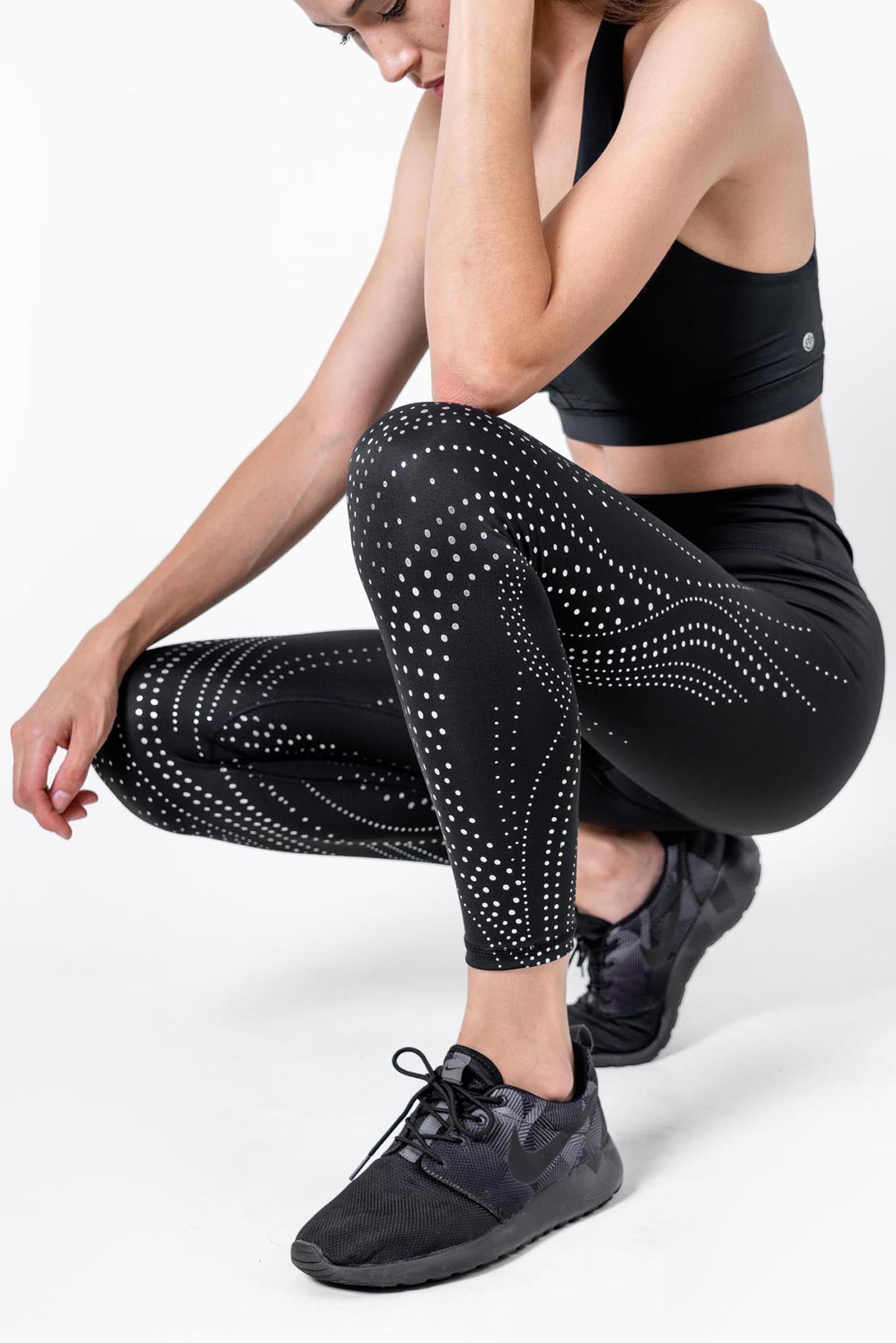 'Spiral Foil' recycled high waisted legging