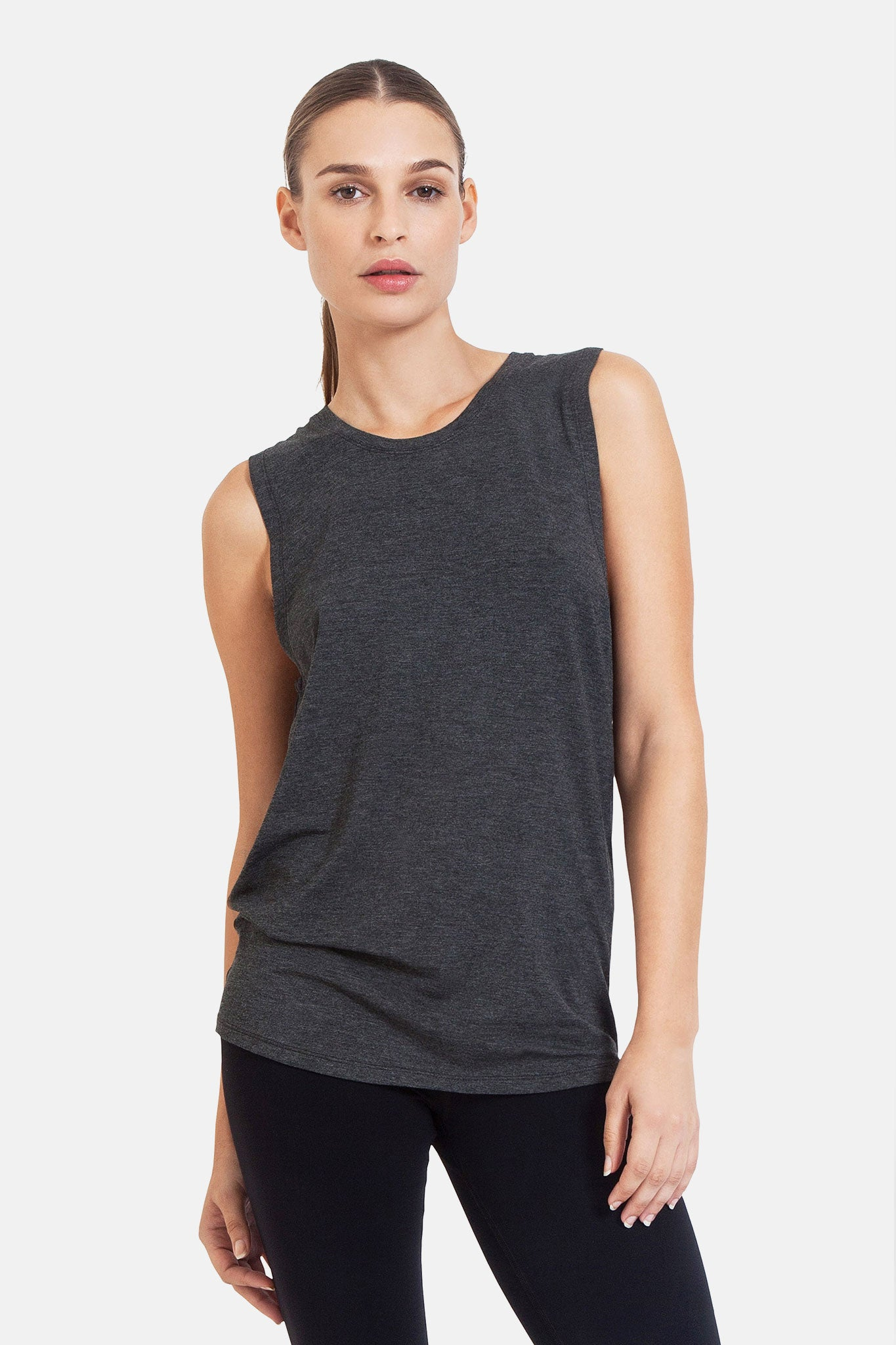 'Diamond Tee' - Bamboo - Charcoal