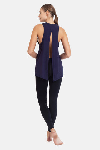 'Splice Tee' Top - Bamboo - Navy