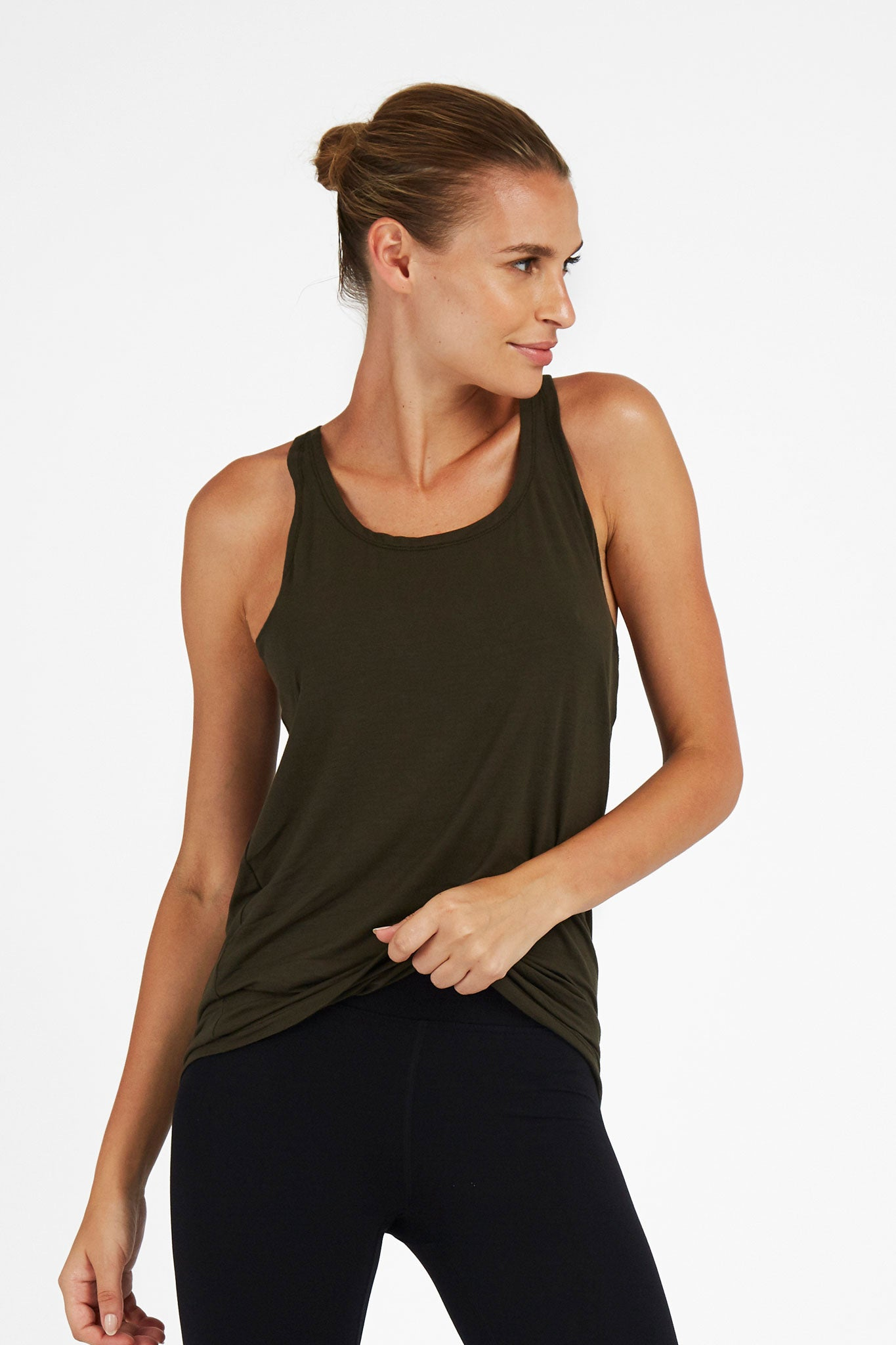 'Twisted Back Tee' Top - Bamboo - Khaki