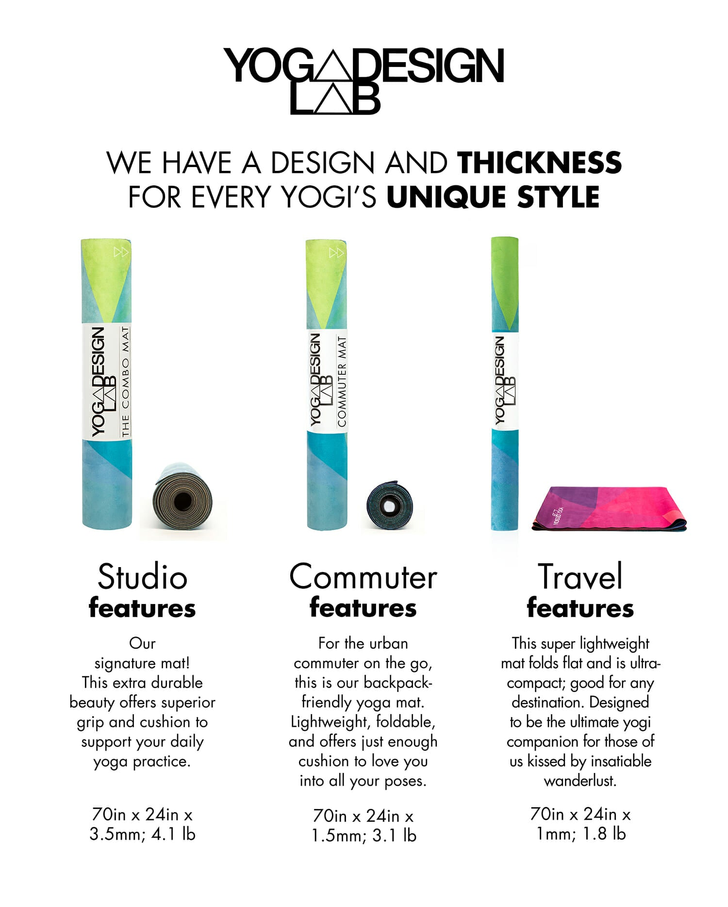 'Commuter yoga mat' - different designs and colors