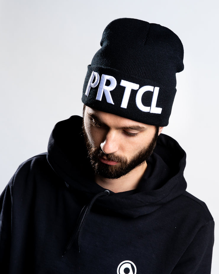 PRTCL Beanie White on Black