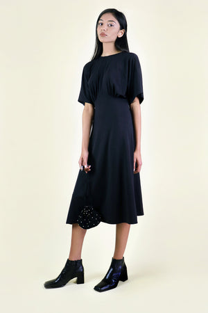 Black Gathered Knit Dress