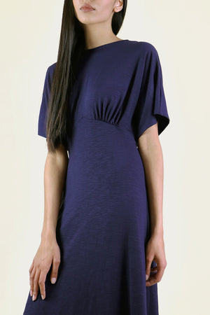 Navy Gathered Knit Dress
