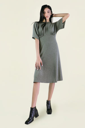 Green Gathered Knit Dress