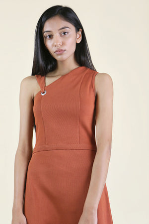 Rust Asymmetrical Dress