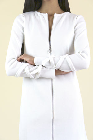 White Zip Duster Cardigan